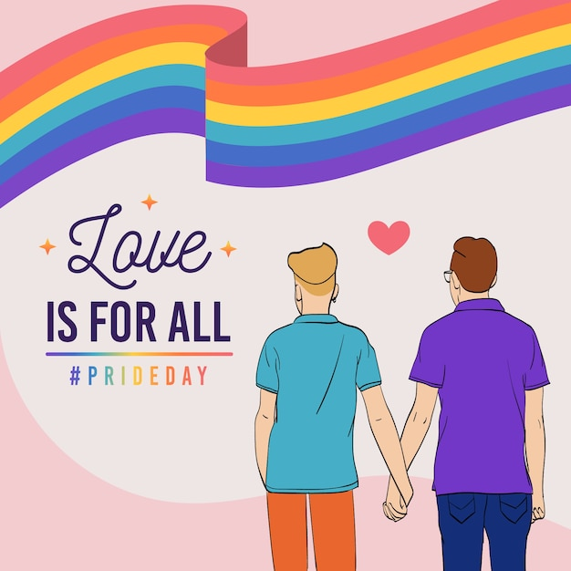 Pride day concept men holding hands Free Vector