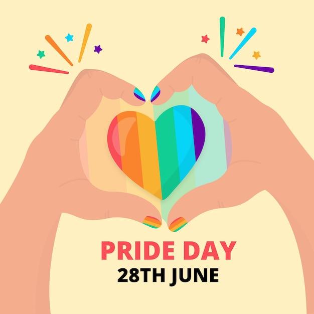 Pride day concept rainbow heart Free Vector