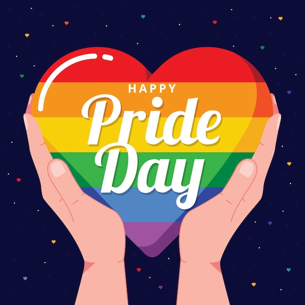 Pride day concept with heart Premium Vector