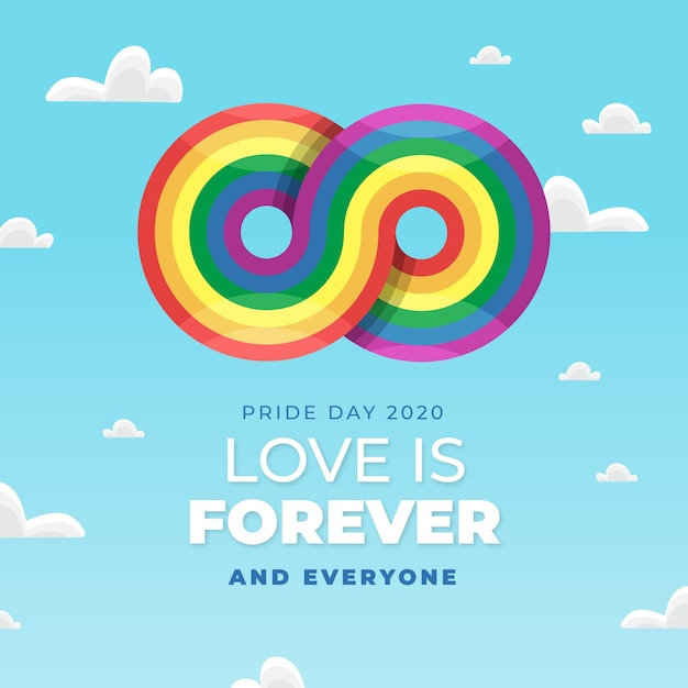 Pride day concept with infinite rainbow sign Free Vector