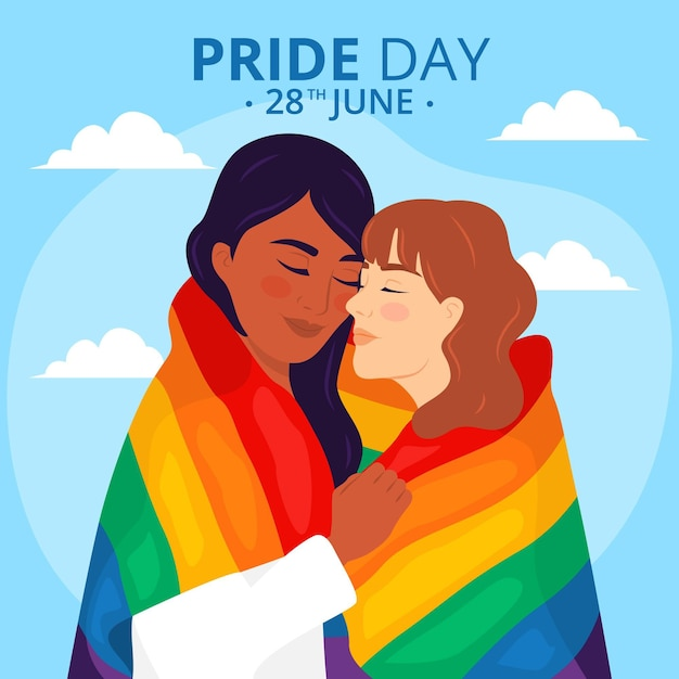 Pride day concept with lesbian couple Premium Vector