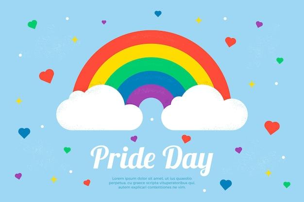 Концепция дня гордости с радугой и облаками Premium векторы