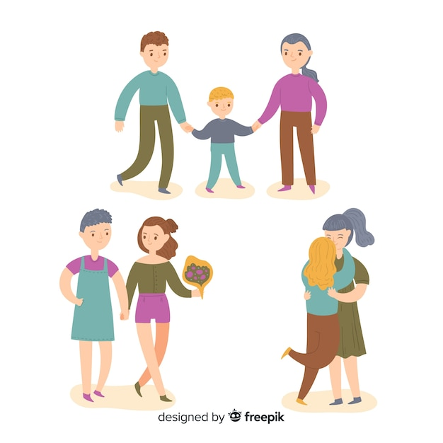 Pride day couples and families colletion Free Vector