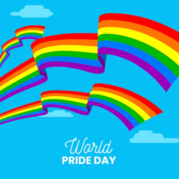 Pride day event with flag Free Vector