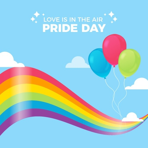 Pride day flag and balloons Free Vector