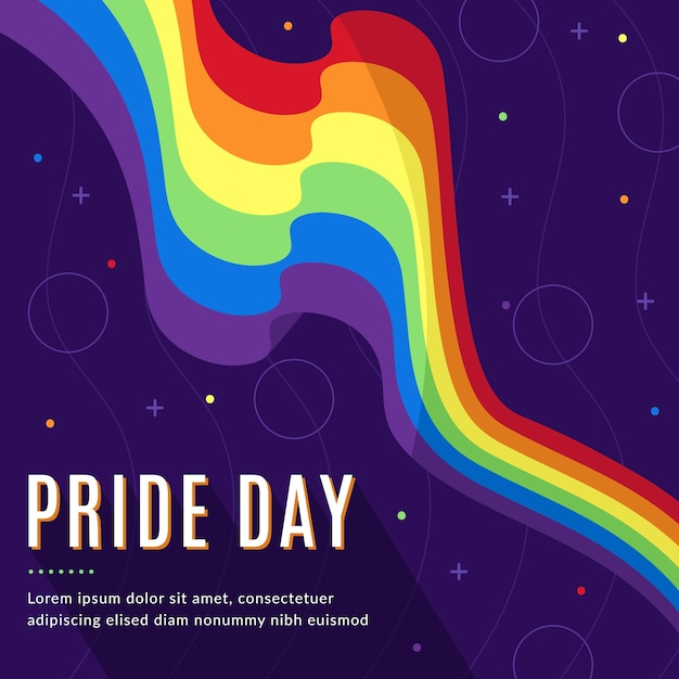 Pride day flag hand drawn design Premium Vector