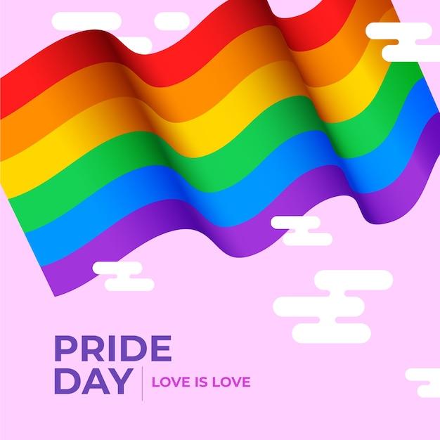 Флаг гордости на розовом фоне Бесплатные векторы