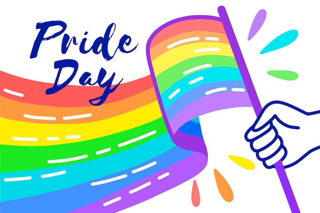 Pride day flag rainbow and hand Free Vector