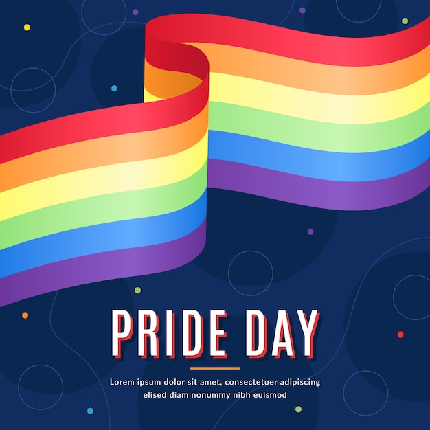 Pride day flag realistic style Free Vector