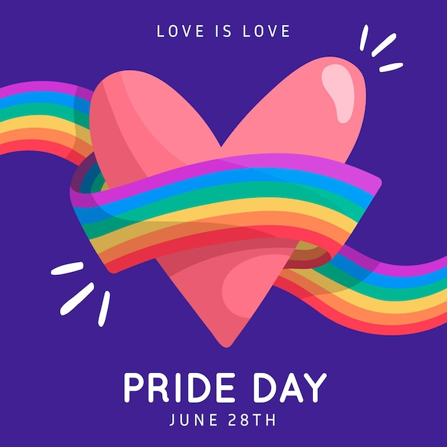 Pride day flag ribbon around heart background Free Vector
