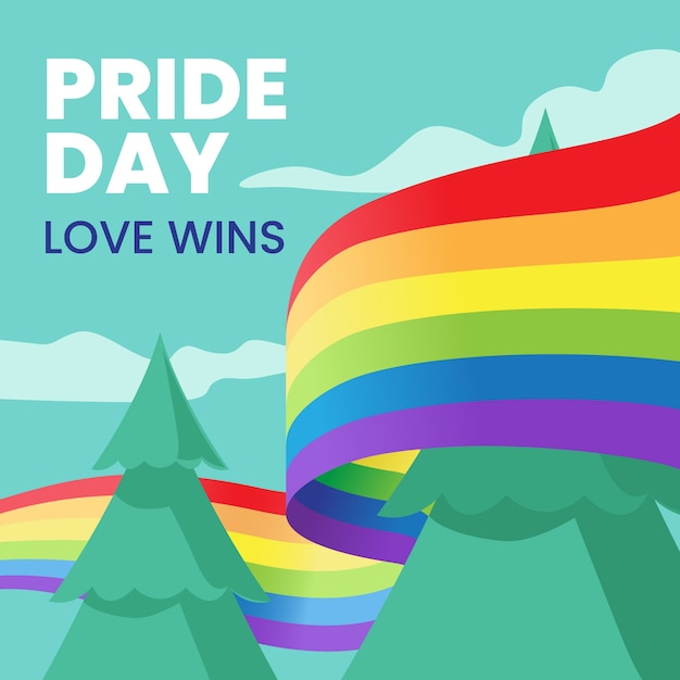 Pride day flag ribbon around trees background Free Vector