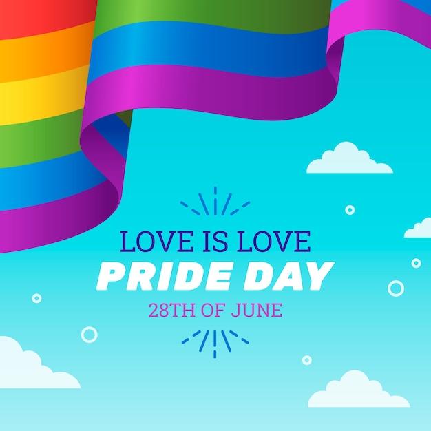 Фон ленты флаг гордости день в небе Бесплатные векторы