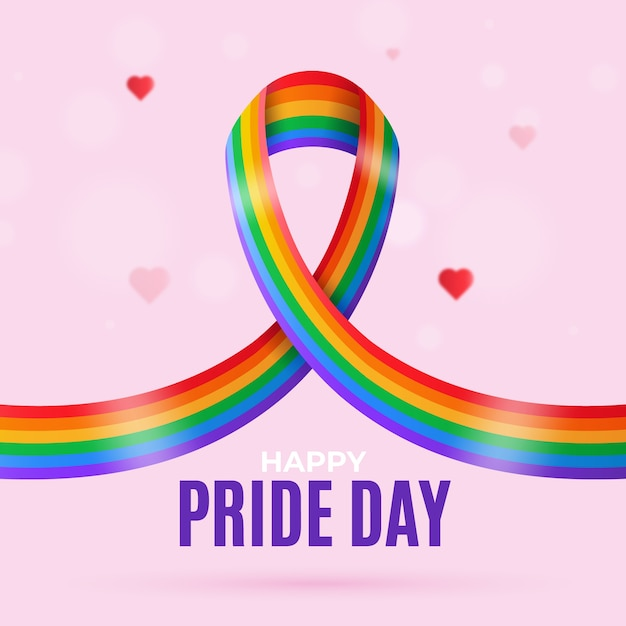 Pride day flag ribbon background with hearts Free Vector