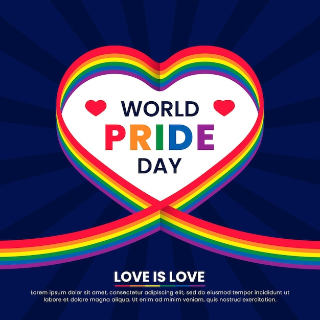Pride day flag ribbon with heart background Free Vector