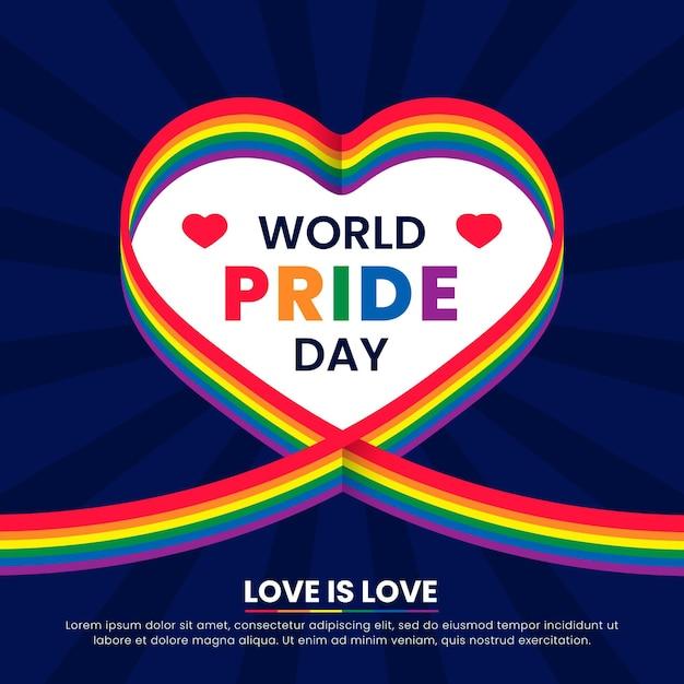 Лента флаг гордости день с фон сердца Бесплатные векторы