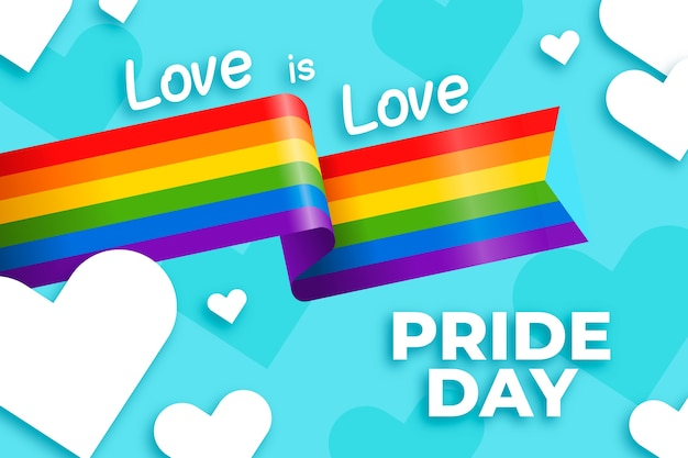 Pride day flag ribbon with hearts background Free Vector