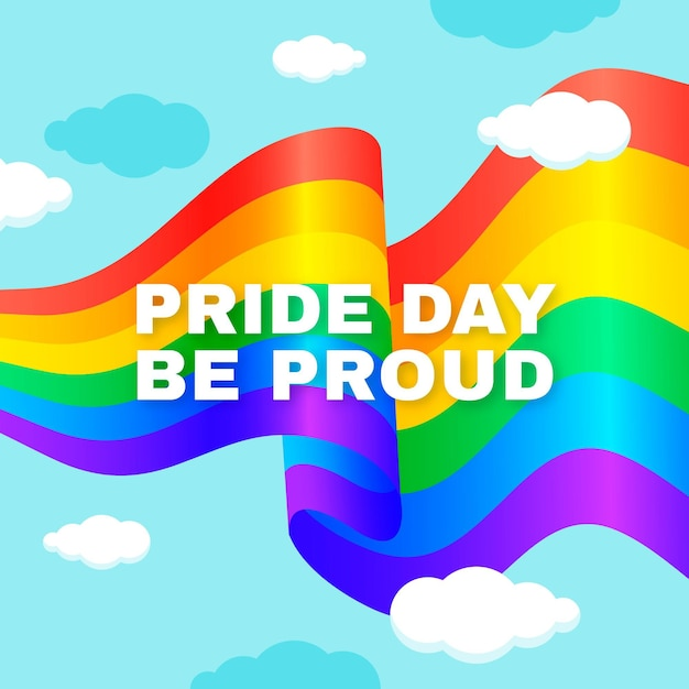 Pride day flag with be proud message Free Vector