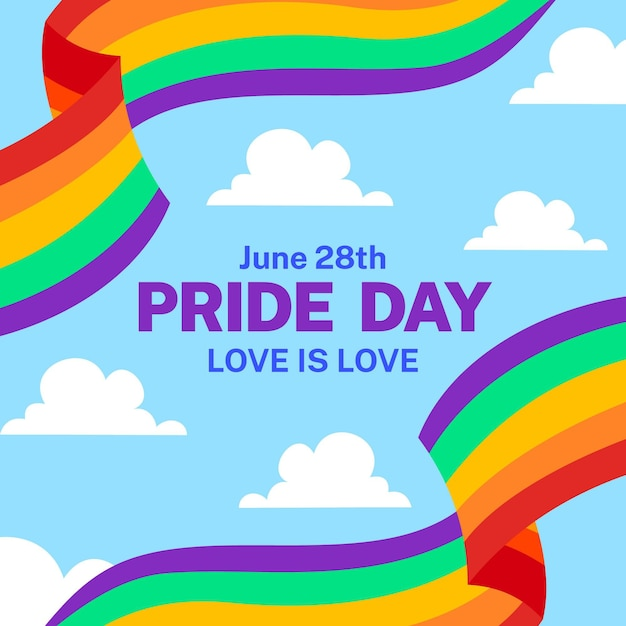 Pride day flag with clouds Premium Vector