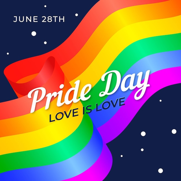 Pride day flag with date and love is love message Free Vector