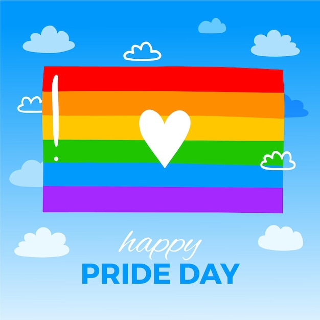 Pride day flag with heart and greeting Free Vector
