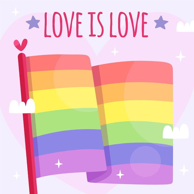 Pride day flag with love Free Vector