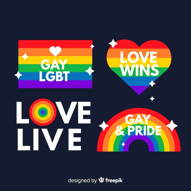 Pride day flat label collection Free Vector