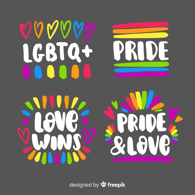 Pride day hand drawn label collection Free Vector