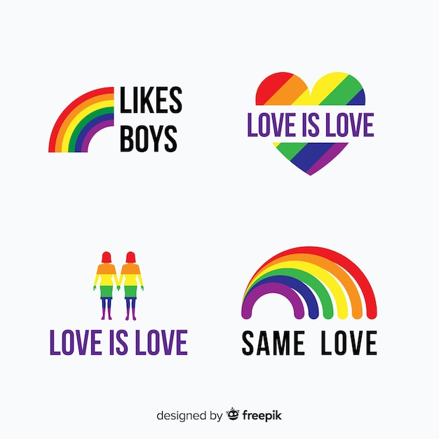 Pride day labels collection Premium Vector