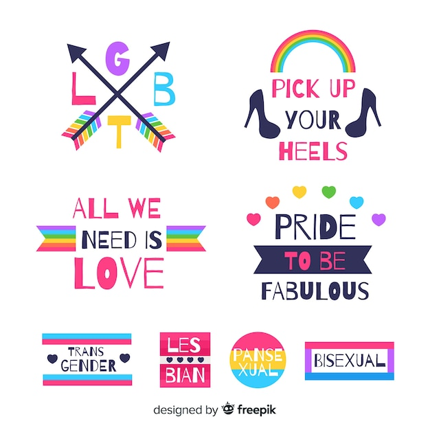 Pride day labels collection Free Vector