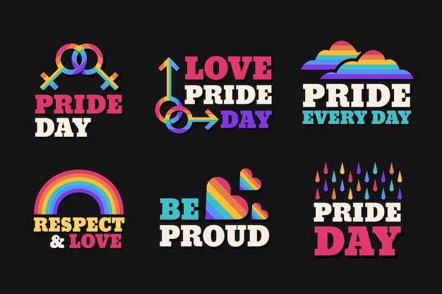 Pride day labels concept Free Vector