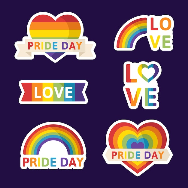 Pride day labels design Free Vector