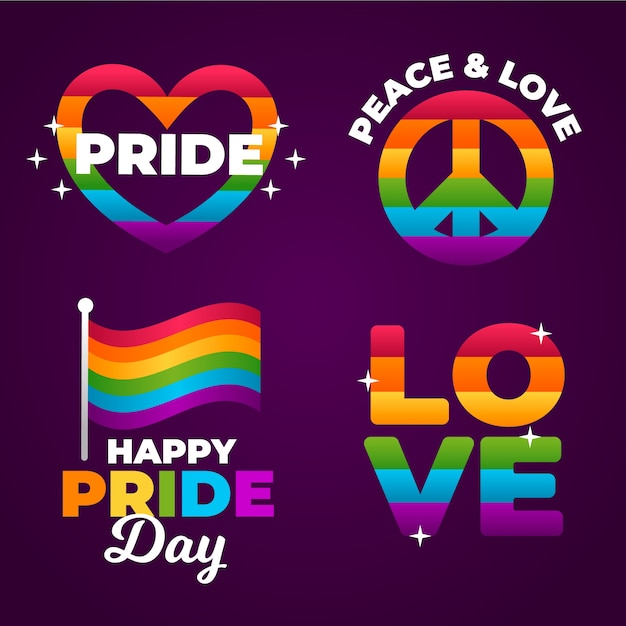 Pride day labels rainbow design Free Vector