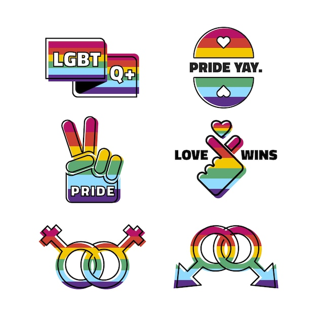 Pride day labels set Free Vector