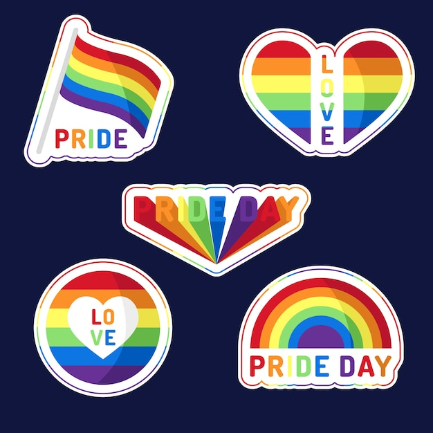 Pride day labels style Free Vector