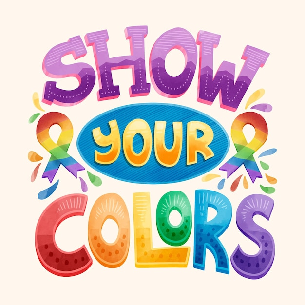 Pride day lettering concept Free Vector