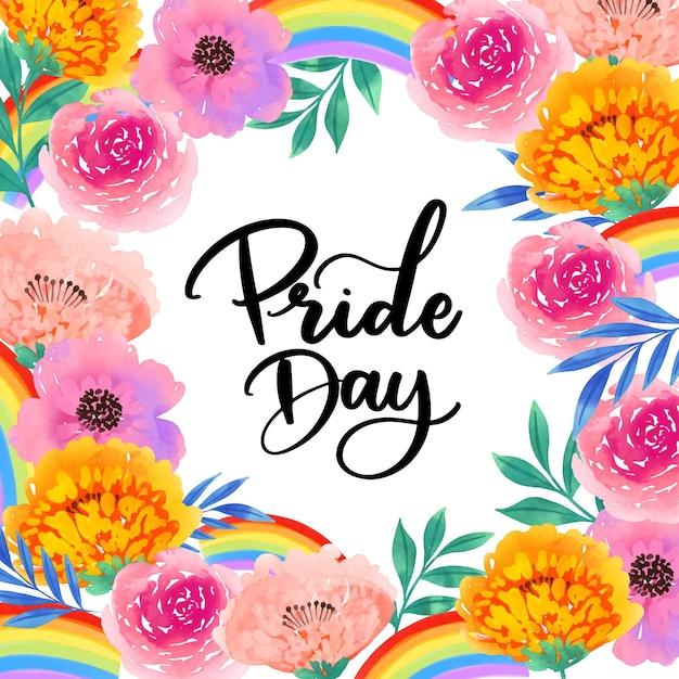 Pride day lettering fiori ad acquerelli Vettore gratuito