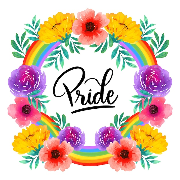 Pride day lettering with colourful flowers Free Vector