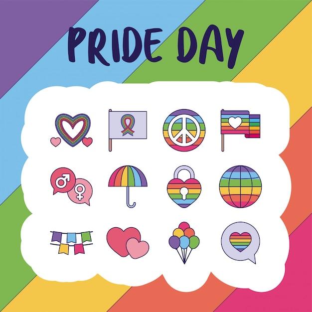 Pride day and lgtbi fill style icon set Premium Vector