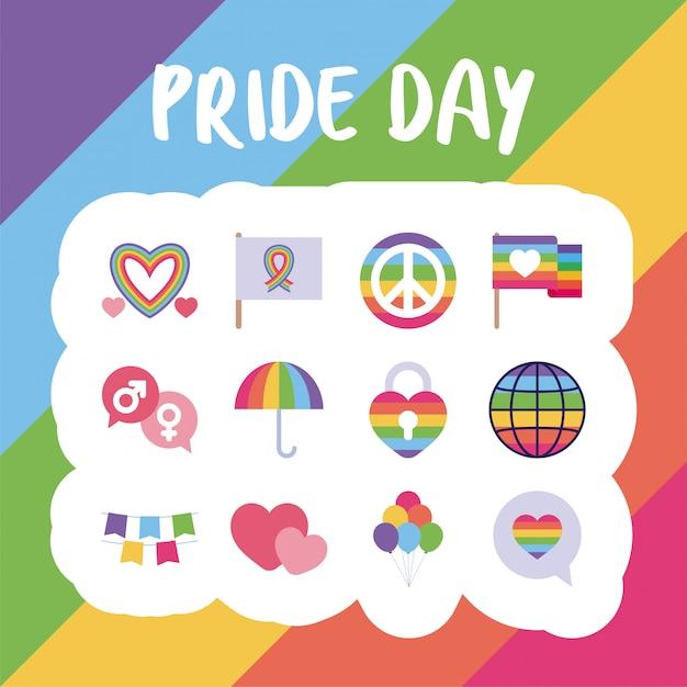 Pride day and lgtbi  style icon set Premium Vector