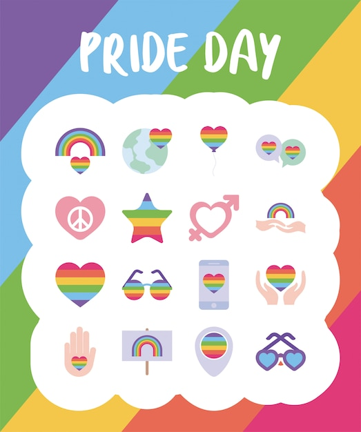 Pride day and lgtbi  style icon set Premium Vector