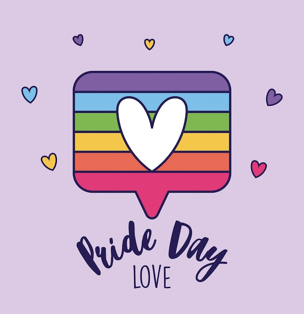 Pride day love and lgtbi bubble with heart Premium Vector