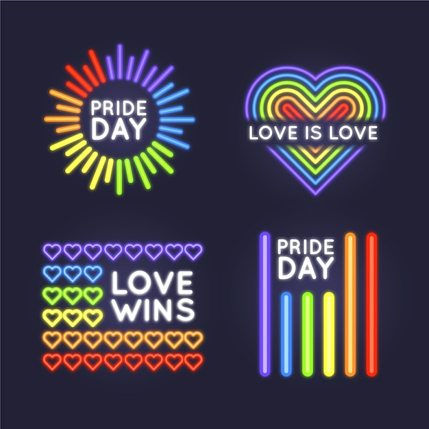 Pride day neon light signs set Free Vector