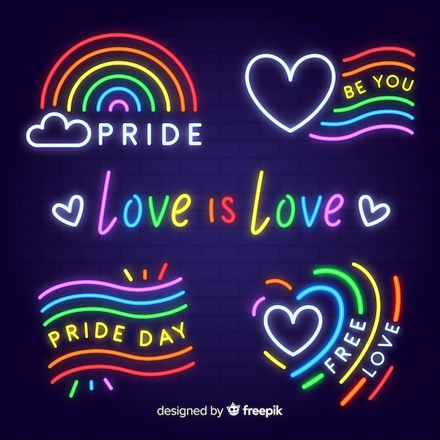 Pride day neon sign collection Free Vector