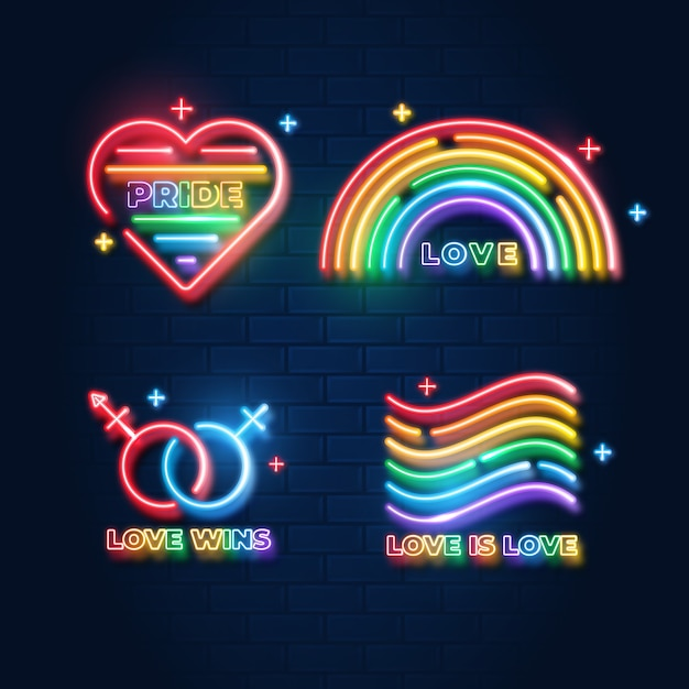 Pride day neon signs collection Free Vector