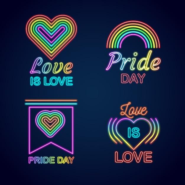 Pride day neon signs design Free Vector