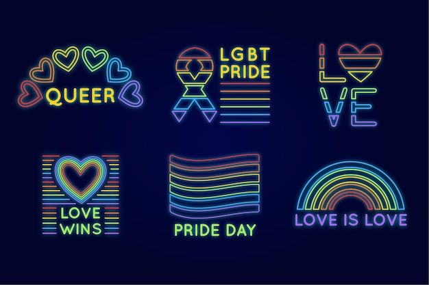 Pride day neon signs set Free Vector