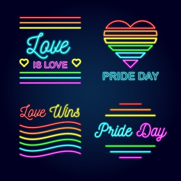 Pride day neon signs style Free Vector