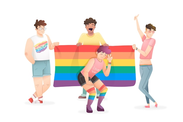 Pride day people concept Free Vector