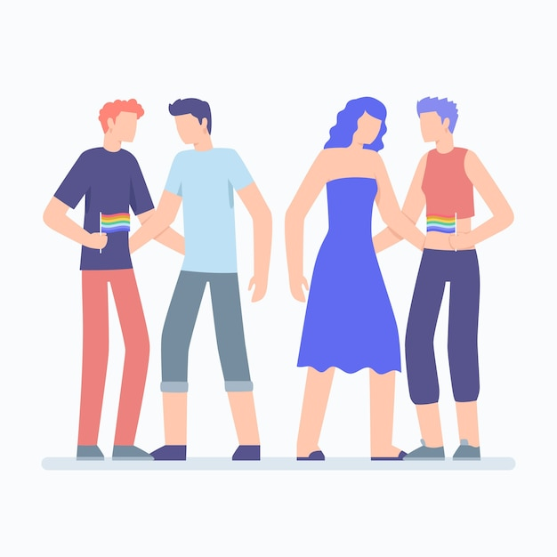 Pride day people together Free Vector