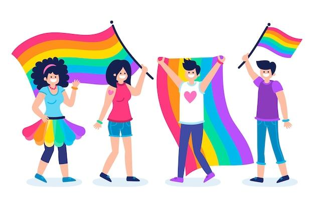 虹色の旗を持つプライド日人 無料ベクター